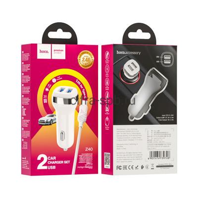 АЗУ 2USB Z40 2.4A + кабель Type-C  белый Hoco купить оптом | cifra-spb.ru