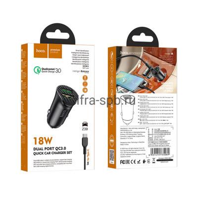 АЗУ 2USB Z39 QC3.0 18W + кабель Type-C черный Hoco купить оптом | cifra-spb.ru