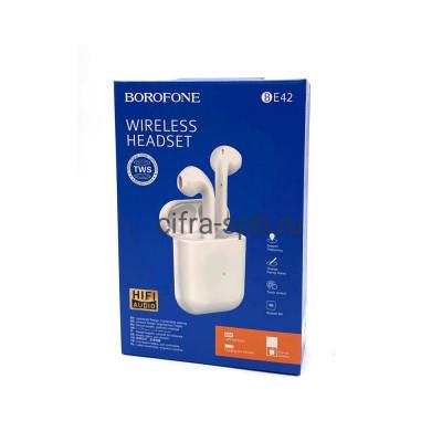 Беспроводные наушники BE42 с микрофоном белый  (с анимацией) Borofone купить оптом   cifra-spb.ru