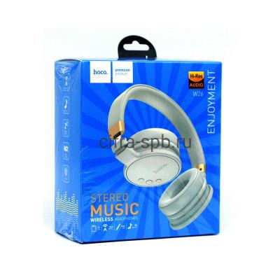 Беспроводные наушники W26 полноразмерные с микрофоном белый Hoco купить оптом   cifra-spb.ru