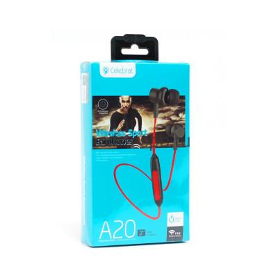Беспроводные наушники A20 с микрофоном красный Celebrat купить оптом | cifra-spb.ru