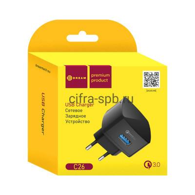 CЗУ USB DRM-C26 3.0 2.4A черный Dream купить оптом | cifra-spb.ru