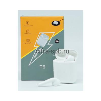 Беспроводные наушники T6 с микрофоном и с беспроводной зарядкой белый купить оптом | cifra-spb.ru