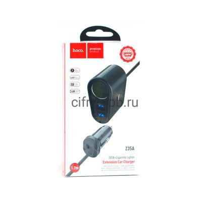 АЗУ USB Z35A 2.4A 24W + разветвитель на 2USB и прикуриватель черный Hoco 1.2m купить оптом | cifra-spb.ru