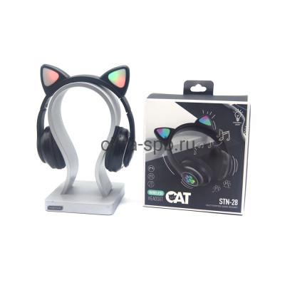 Беспроводные полноразмерные наушники STN-28 с микрофоном Светящиеся ушки черный купить оптом   cifra-spb.ru