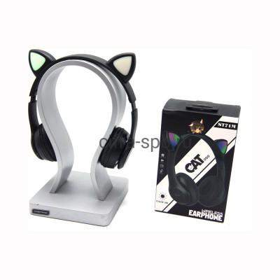 Беспроводные полноразмерные наушники ST71M с микрофоном Светящиеся ушки черный купить оптом   cifra-spb.ru