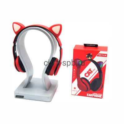 Беспроводные полноразмерные наушники ST71M с микрофоном Светящиеся ушки красно-черный купить оптом | cifra-spb.ru
