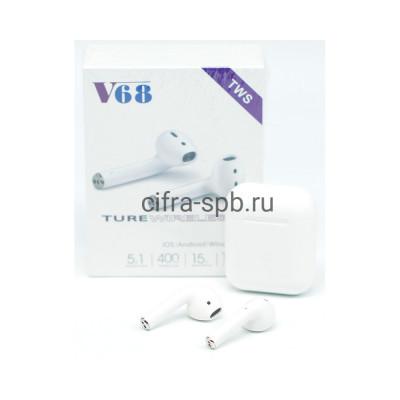 Беспроводные наушники V68-TWS c микрофоном белый купить оптом | cifra-spb.ru