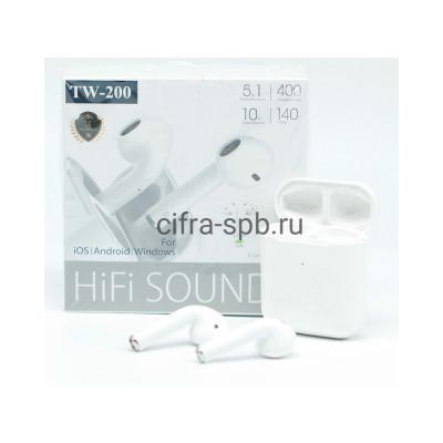 Беспроводные наушники TW-200 c микрофоном белый купить оптом | cifra-spb.ru