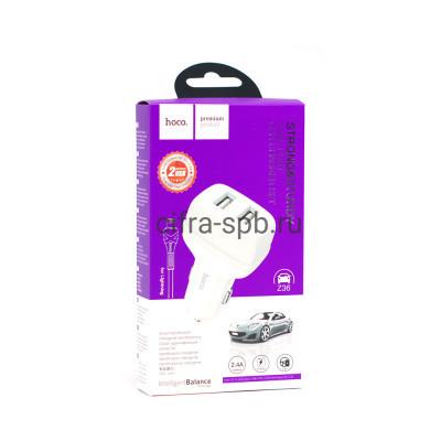 АЗУ 2USB Z36 2.4A + кабель Lighning белый Hoco купить оптом | cifra-spb.ru