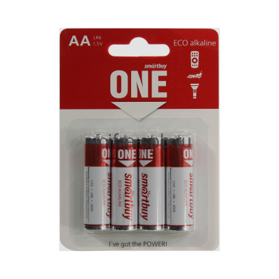 Батарейки LR6 ONE Smartbuy 4шт (цена за ед.) купить оптом   cifra-spb.ru
