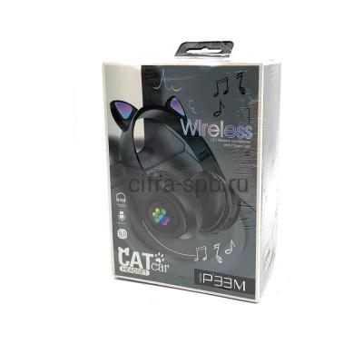 Беспроводные наушники P33M с микрофоном Светящиеся ушки полноразмерные черный купить оптом   cifra-spb.ru