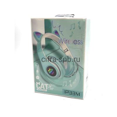 Беспроводные наушники P33M с микрофоном Светящиеся ушки полноразмерные голубой купить оптом   cifra-spb.ru
