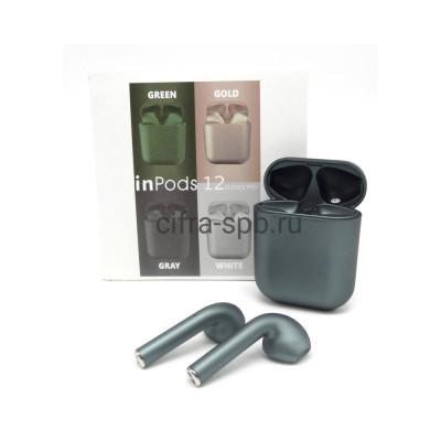 Беспроводные наушники  inPods i12 сенсорные c микрофоном зеленый купить оптом | cifra-spb.ru