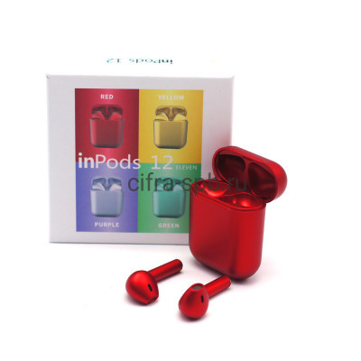 Беспроводные наушники  inPods i12 сенсорные c микрофоном металлик красный купить оптом   cifra-spb.ru
