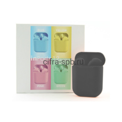 Беспроводные наушники  inPods i12 сенсорные c микрофоном черный купить оптом | cifra-spb.ru