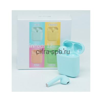 Беспроводные наушники  inPods i12  сенсорные c микрофоном голубой купить оптом | cifra-spb.ru