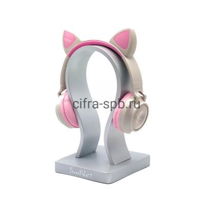 Беспроводные наушники ZW-028 с микрофоном Светящиеся ушки полноразмерные серо-розовый купить оптом | cifra-spb.ru