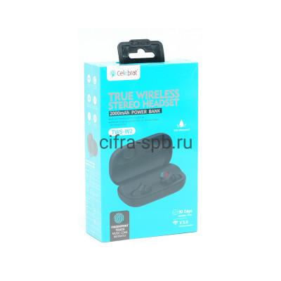 Беспроводные наушники TWS-W2  с микрофоном черный Celebrat купить оптом   cifra-spb.ru
