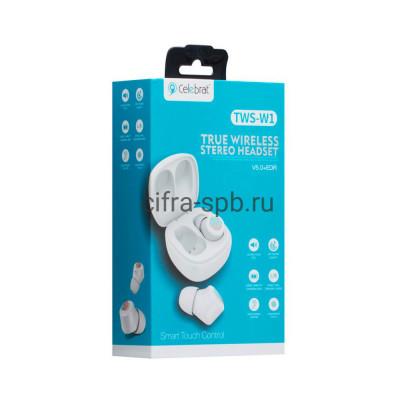 Беспроводные наушники TWS-W1  с микрофоном белый Celebrat купить оптом | cifra-spb.ru