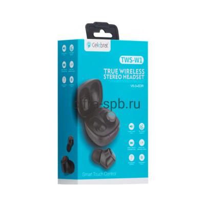 Беспроводные наушники TWS-W1  с микрофоном черный Celebrat купить оптом | cifra-spb.ru
