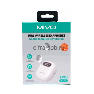 Беспроводные наушники TWS МТ-03 белый Mivo купить оптом | cifra-spb.ru