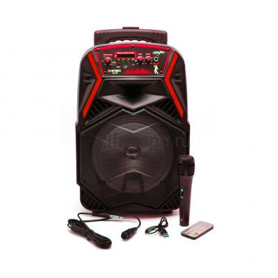 Беспроводная колонка QS-803 + проводной микрофон + пульт черно-красный KIMISO купить оптом   cifra-spb.ru