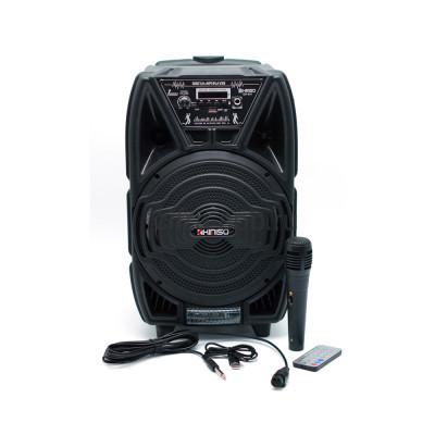 Беспроводная колонка QS-821 + проводной микрофон + пульт черный KIMISO купить оптом | cifra-spb.ru