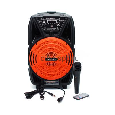 Беспроводная колонка QS-821 + проводной микрофон + пульт черно-красный KIMISO купить оптом   cifra-spb.ru