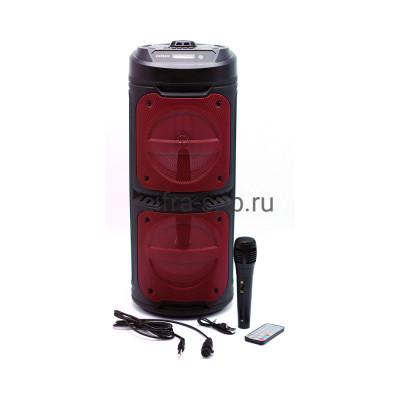 Беспроводная колонка ZQS-6209 + проводной микрофон + пульт черно-красный купить оптом | cifra-spb.ru