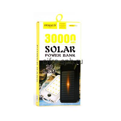 Power Bank 30000mAh DMK-A10 + солнечная панель черный Demaco купить оптом | cifra-spb.ru