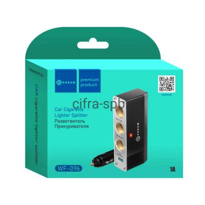 АЗУ USB WF-096 + разветвитель на 3 прикуривателя черный Dream купить оптом   cifra-spb.ru