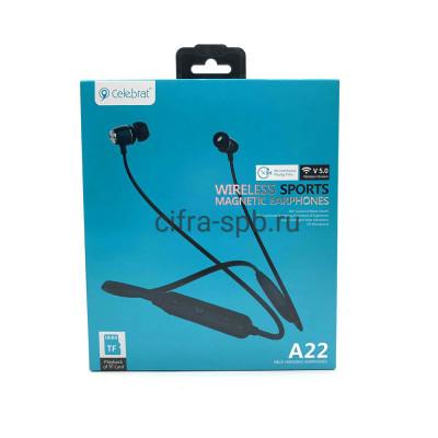Беспроводные наушники A22 с микрофоном черный Celebrat купить оптом | cifra-spb.ru