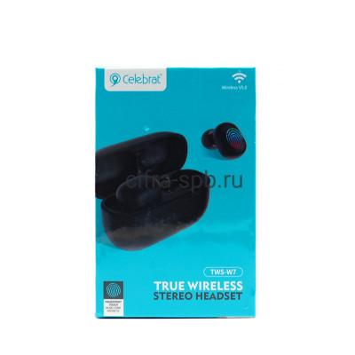 Беспроводные наушники TWS-W7  с микрофоном черный Celebrat купить оптом | cifra-spb.ru