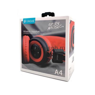 Беспроводные наушники A4 полноразмерные с микрофоном красный Celebrat купить оптом | cifra-spb.ru