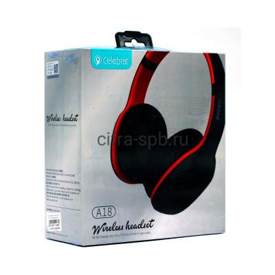 Беспроводные наушники A18 полноразмерные с микрофоном красный Celebrat купить оптом | cifra-spb.ru