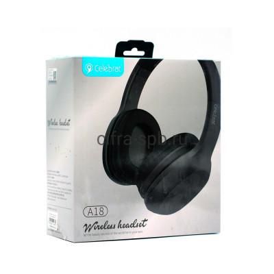 Беспроводные наушники A18 полноразмерные с микрофоном черный Celebrat купить оптом | cifra-spb.ru