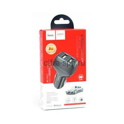 АЗУ 2USB Z36 2.4A + кабель Micro черный Hoco купить оптом | cifra-spb.ru