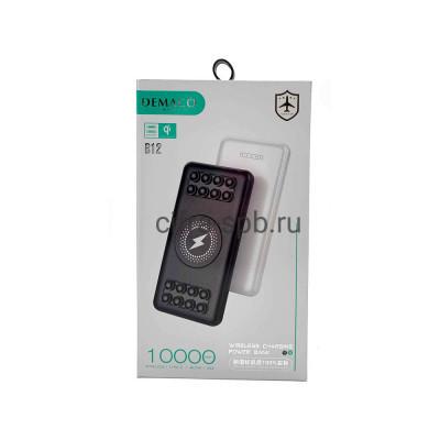 Power Bank 10000mAh B12 с беспроводной зарядкой черный Demaco купить оптом | cifra-spb.ru