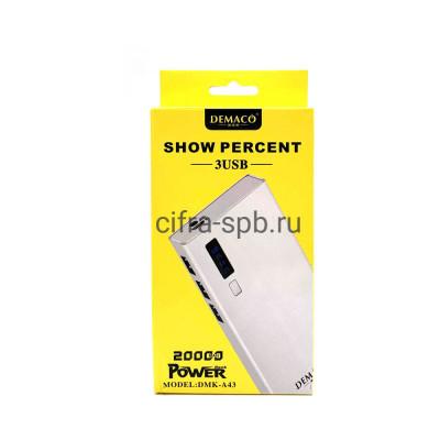 Power Bank 3USB 20000mAh DMK-A43 белый Demaco купить оптом | cifra-spb.ru