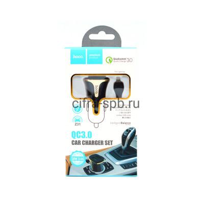 АЗУ 2USB Z31 3.4A QC3.0 18W + кабель Lightning черный Hoco купить оптом | cifra-spb.ru