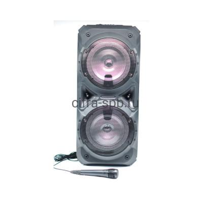 Беспроводная колонка ZQS-8201 + пульт + проводной микрофон черный купить оптом | cifra-spb.ru