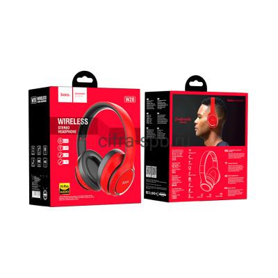 Беспроводные наушники W28 полноразмерные с микрофоном красный Hoco купить оптом | cifra-spb.ru