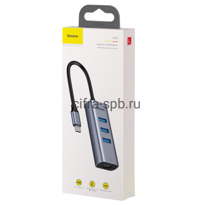 USB Хаб на 3USB+RJ45 CAHUB-M0G серый Baseus купить оптом   cifra-spb.ru