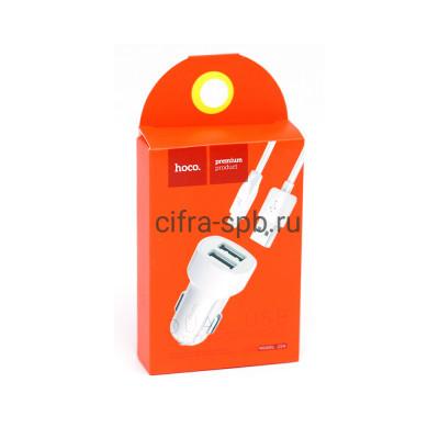 АЗУ 2USB Z2A 2.4A + кабель Lightning белый Hoco купить оптом | cifra-spb.ru