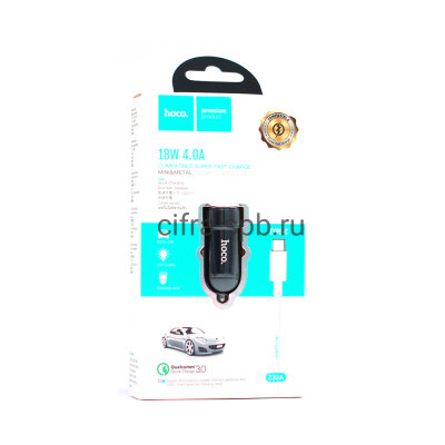 АЗУ USB Z32A 4A 18W + кабель Type-C черный Hoco купить оптом   cifra-spb.ru