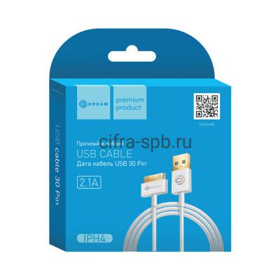 Кабель iPhone 4 IPH4 белый Dream 1m купить оптом | cifra-spb.ru