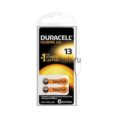 Батарейки ZA13 6шт для слуховых аппаратов Duracell (цена за ед.) купить оптом | cifra-spb.ru