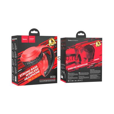 Беспроводные наушники W30 полноразмерные с микрофоном красный Hoco купить оптом | cifra-spb.ru