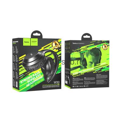 Беспроводные наушники W30 полноразмерные с микрофоном черный Hoco купить оптом | cifra-spb.ru